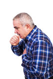 Senior man coughing and accusing chest pain Stock Photos