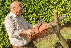 Senior man cutting tree with chainsaw. In the garden royalty free stock photography