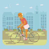 Senior man cycling. Happy people concept. Senior man cycling by the street. Flat style cartoon vector illustration with  characters on city background Royalty Free Stock Photography