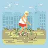 Senior man cycling. Happy people concept. Senior man cycling by the street. Flat style cartoon vector illustration with isolated characters on city background Stock Images