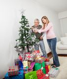 Senior Man And Daughter Decorating Christmas Tree Stock Photos