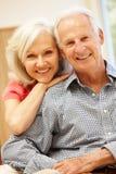 Senior man and daughter at home Royalty Free Stock Photo
