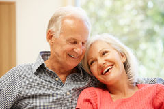 Senior man and daughter at home Stock Photography