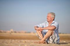 Senior man in desert Royalty Free Stock Images