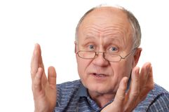 Senior man discussing and gest royalty free stock images