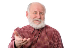 Senior man dissatisfied, isolated on white Royalty Free Stock Images