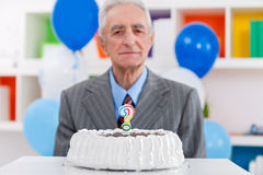 Senior man does not know how old Royalty Free Stock Images