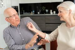 Senior man does not want to take medicine stock photography