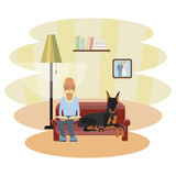 Senior man with dog. A senior man with dog, sits at sofa and reads a book in his living room. Vector illustration epa 10 Royalty Free Stock Photo