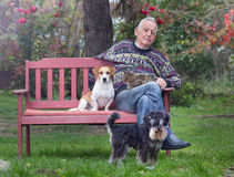Senior man with dogs and cat Stock Photos