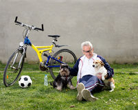 Senior man with dogs Royalty Free Stock Images