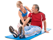 Senior man doing fitness exercise Royalty Free Stock Photo