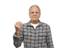 Senior man doing hand sign Stock Photography