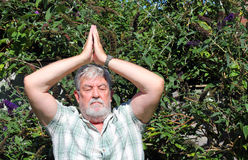 Senior man, Tai chi, meditation or yoga. Royalty Free Stock Image