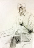 Senior man drawing Royalty Free Stock Image