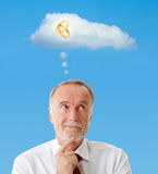 Senior man dreaming about wedding, symbol Royalty Free Stock Photography