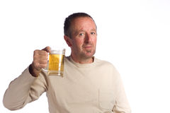 Senior man drinking beer Stock Photos