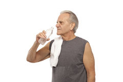 Senior man drinking water Stock Photos