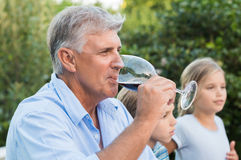 Senior man drinking wine stock photography