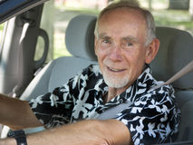 Senior man driving car Royalty Free Stock Photos