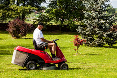Senior man driving a red lawn mower Stock Photos