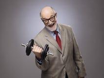 Senior man with dumbbell Royalty Free Stock Photo