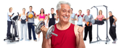 Senior man with dumbbell. Stock Photography