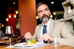 Senior man eating lunch in restaurant. Portrait of senior man eating lunch in restaurant royalty free stock photo
