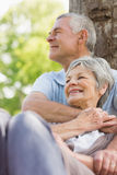 Senior man embracing woman from behind at park Royalty Free Stock Images