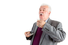 Senior man enjoying a cup of Turkish tea Royalty Free Stock Images