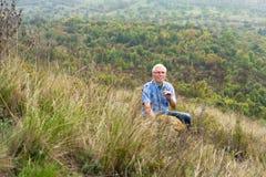 Senior man enjoying nature Royalty Free Stock Image
