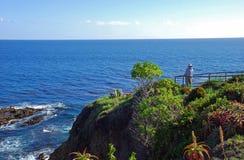 Senior man enjoying ocean view in Laguna Beach, CA royalty free stock photos