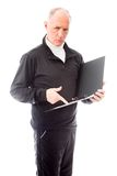 Senior man examining a file Stock Photo