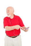 Senior Man Excited About MP3 Player Stock Image