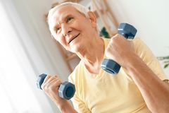 Senior man exercise at home health care sitting holding dumbbells. Senior man exercise indoors sitting holding dumbbells Stock Photography