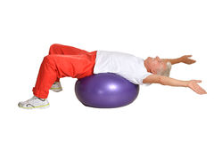 Senior man exercising with ball Royalty Free Stock Images