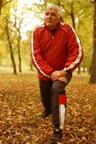 Senior man exercising in the park. stock images