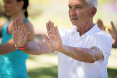 Senior man exercising in the park Stock Images