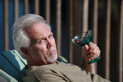 Senior Man Expression Empty Glass Royalty Free Stock Images