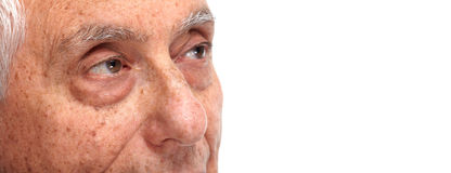 Senior man eyes. Elderly man eyes close-up. Old age people face Stock Photo