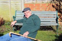 Senior man fallen over. Royalty Free Stock Photo