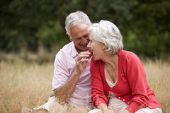 A senior man feeding his wife a strawberry, outdoors Royalty Free Stock Images