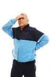 Senior man feeling headache Stock Photos