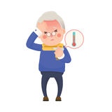 Senior Man with Fever Checking Thermometer Stock Photos