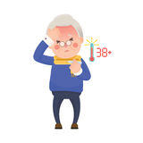 Senior Man with Fever Checking Thermometer Royalty Free Stock Photography