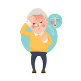 Senior Man with Fever Checking Thermometer Royalty Free Stock Photos