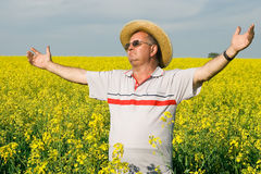 Senior man in a field of rape Stock Image