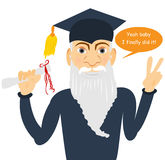 Senior man finally graduated. Funny vector illustration of a  senior male graduate, holding certificate Royalty Free Stock Photo