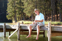 Senior Man Fishing Stock Photos