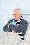 Senior man with flu Royalty Free Stock Image